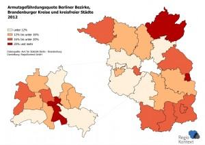 Armutsgefährdungsquote Berliner Bezirke, Brandenburger Kreise und kreisfreier Städte 2012