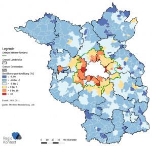 Bevölkerungsentwicklung in Brandenburg 2005 - 2010