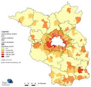 Bevölkerungsdichte in Brandenburg 2010