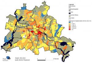 Änderung der Kaltmieten in Berlin von 2010 bis 2011