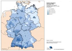 Anteil der  Eigentumswohnungen 2011 – Wohngebäude, die in Eigentumswohnungen aufgeteilt sind in % an allen Wohngebäuden
