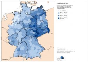 Leerstsandsquote 2011 – Anteil der leer stehenden Wohnungen an allen Wohnungen in Wohngebäuden