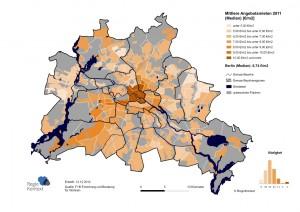Mittlere Angebotsmieten in Berlin auf Ebene der Bezirksregionen 2011