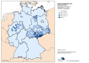 Anteil der Wohnungen ohne Bad und WC 2011